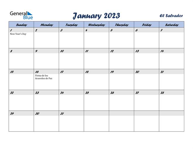 January 2023 Calendar with Holidays
