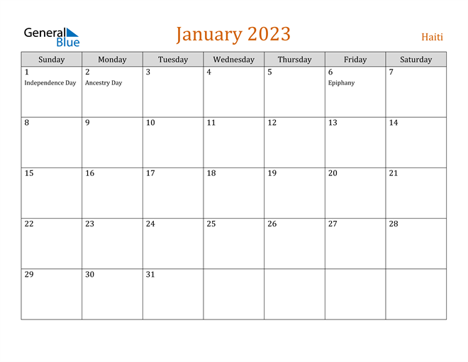 January 2023 Holiday Calendar