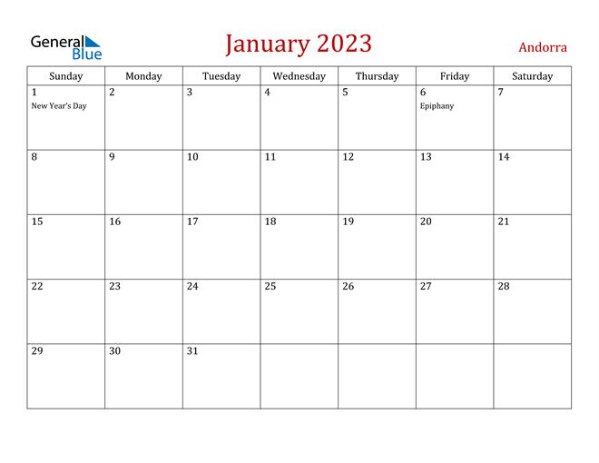 Andorra January 2023 Calendar