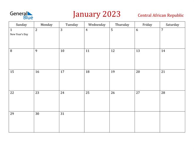 Central African Republic January 2023 Calendar