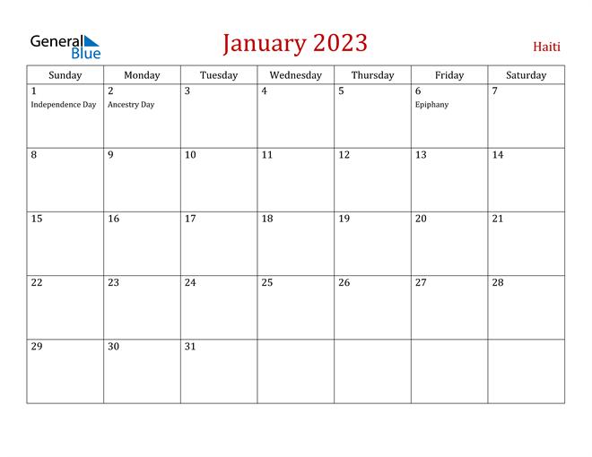 Haiti January 2023 Calendar