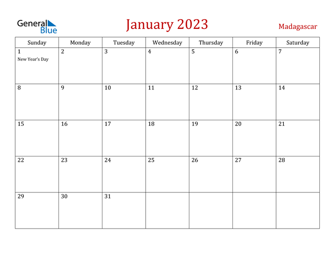 Madagascar January 2023 Calendar