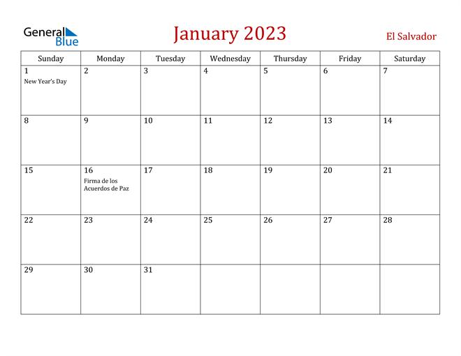 El Salvador January 2023 Calendar