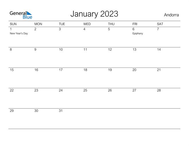 Printable January 2023 Calendar for Andorra