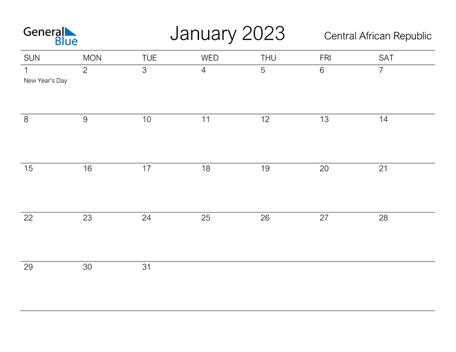 Printable January 2023 Calendar for Central African Republic