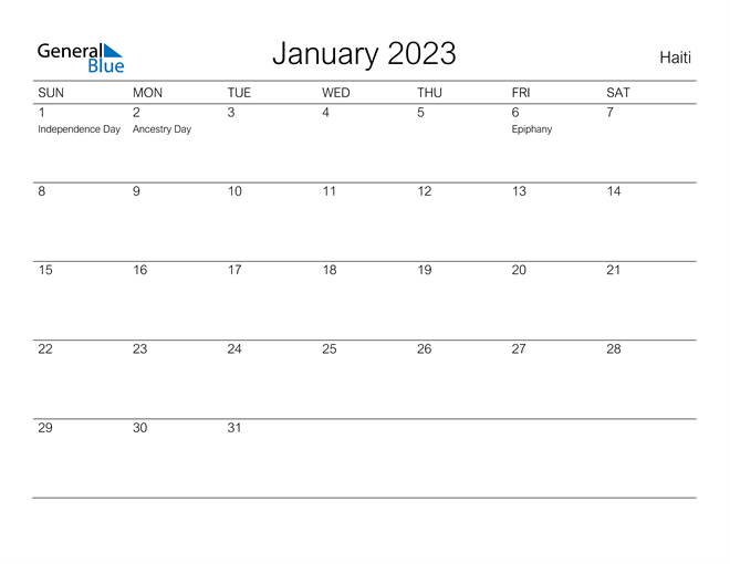 Printable January 2023 Calendar for Haiti