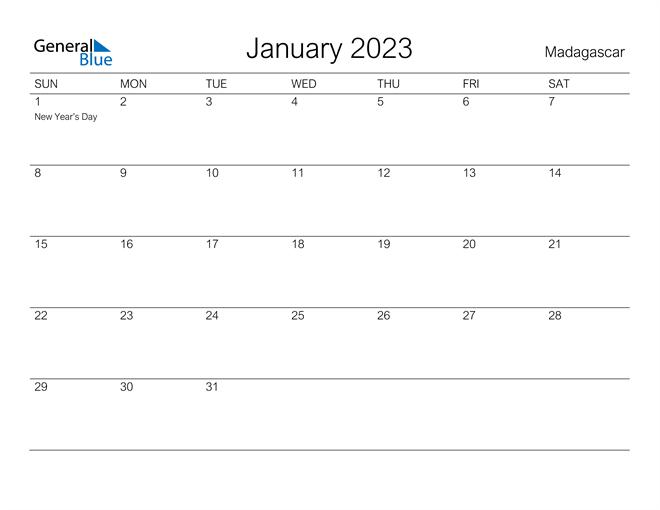 Printable January 2023 Calendar for Madagascar
