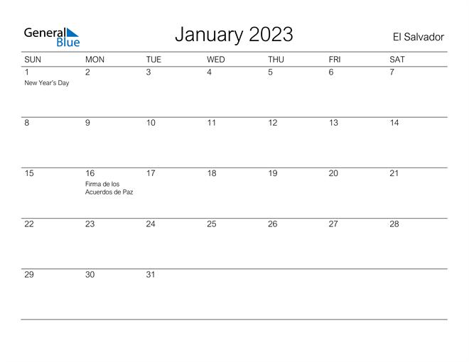 Printable January 2023 Calendar for El Salvador