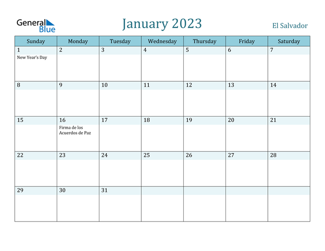 January 2023 Calendar with Holidays in PDF, Word, and Excel