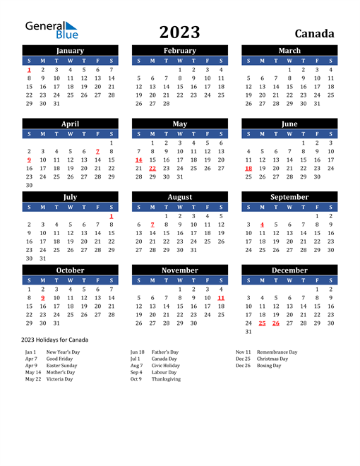 2023 Canada Free Calendar