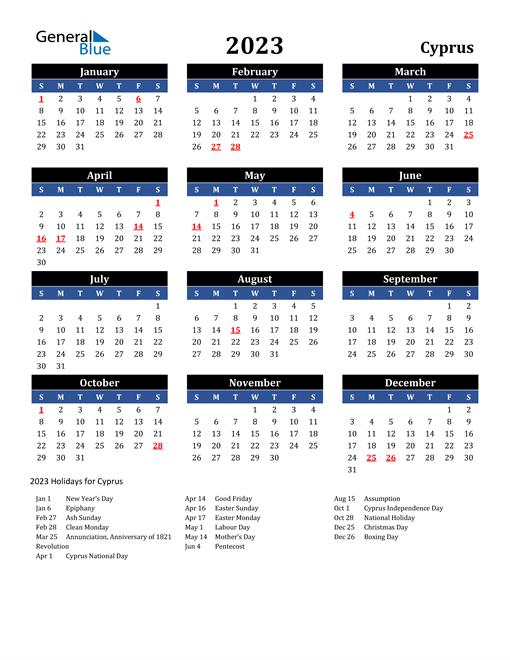 2023 Cyprus Free Calendar