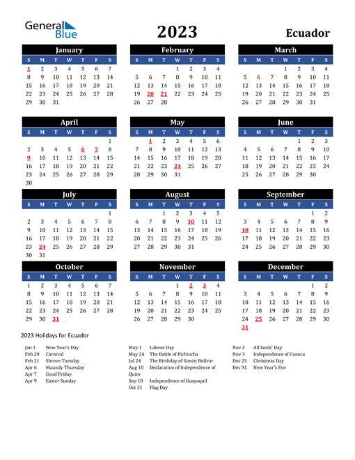 2023 Ecuador Free Calendar