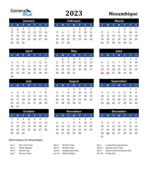 2023 Mozambique Free Calendar