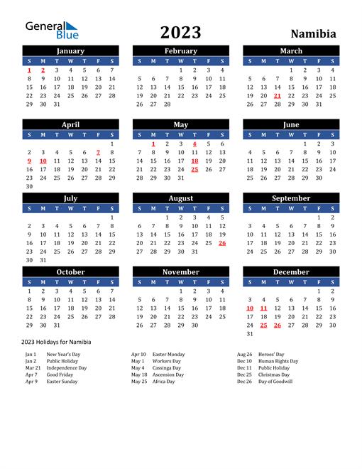 2023 Namibia Free Calendar