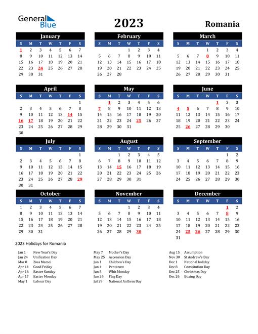 2023 Romania Free Calendar