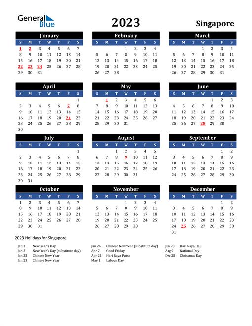 2023 Singapore Free Calendar