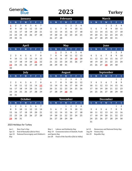 2023 Turkey Free Calendar
