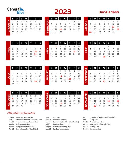 Download Bangladesh 2023 Calendar