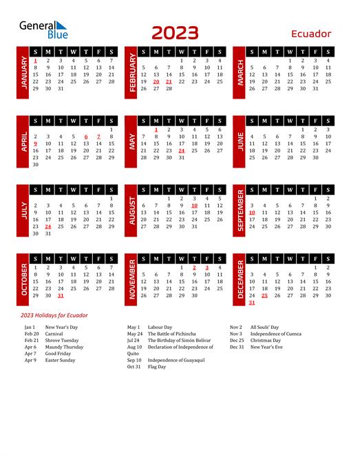 Download Ecuador 2023 Calendar