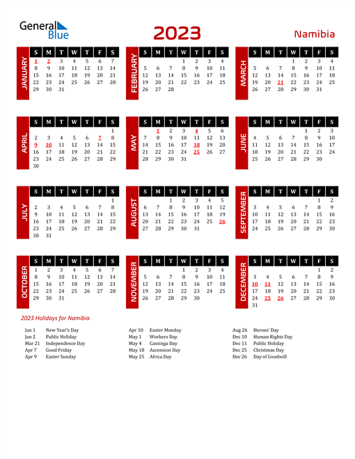 Download Namibia 2023 Calendar