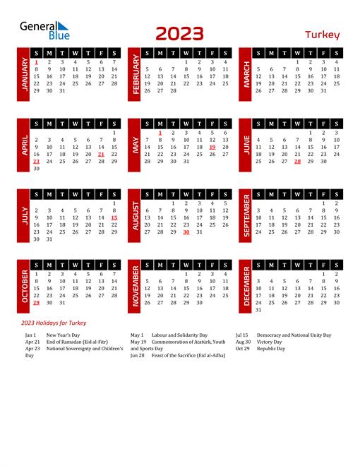 Download Turkey 2023 Calendar