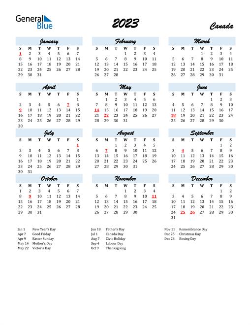 2023 Calendar for Canada with Holidays