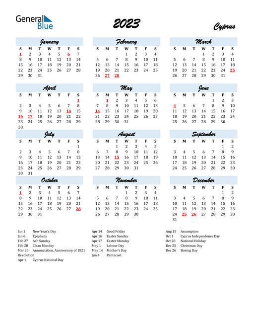 2023 Calendar for Cyprus with Holidays