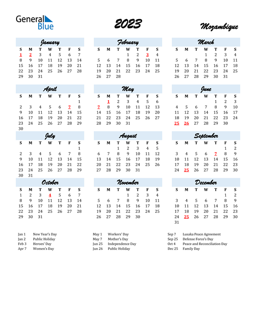 2023 Calendar for Mozambique with Holidays