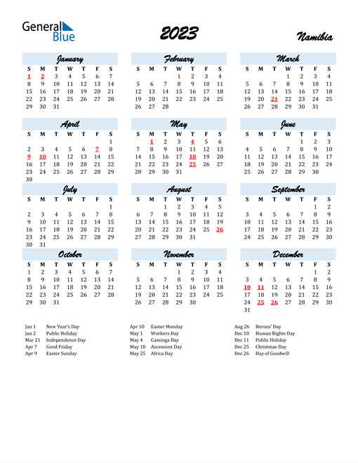 2023 Calendar for Namibia with Holidays