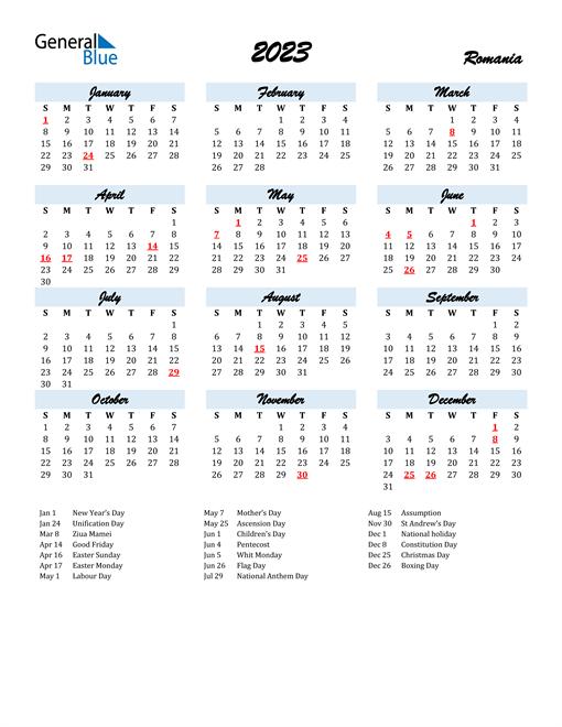 2023 Calendar for Romania with Holidays