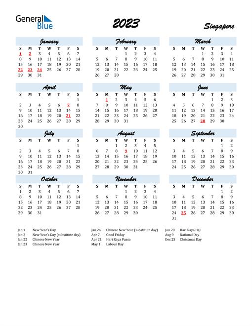 2023 Calendar for Singapore with Holidays
