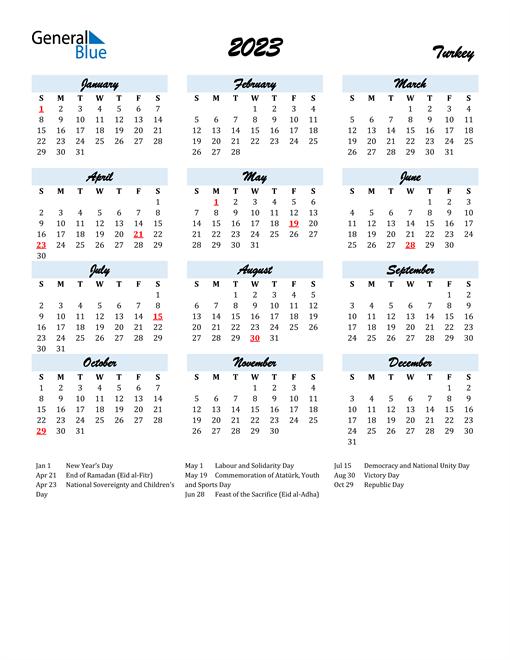 2023 Calendar for Turkey with Holidays