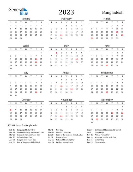Bangladesh Holidays Calendar for 2023