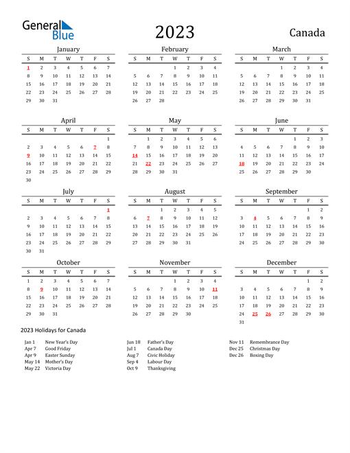 Canada Holidays Calendar for 2023