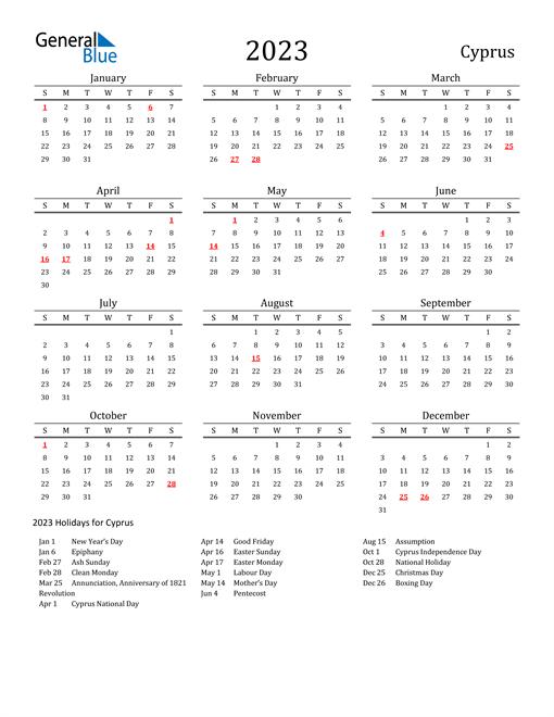Cyprus Holidays Calendar for 2023