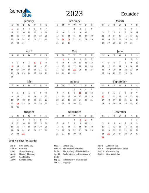 Ecuador Holidays Calendar for 2023