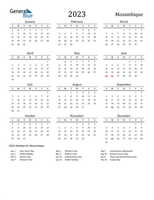Mozambique Holidays Calendar for 2023