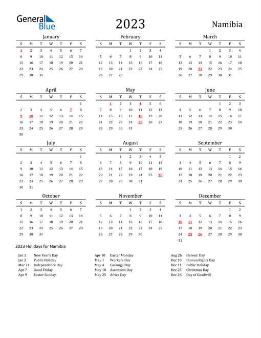Namibia Holidays Calendar for 2023