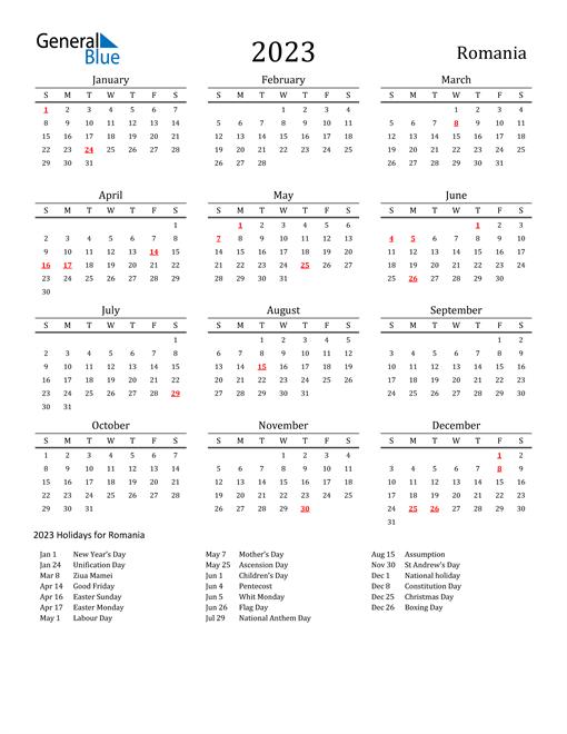 Romania Holidays Calendar for 2023