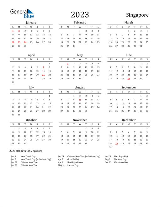 Singapore Holidays Calendar for 2023