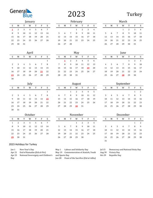 Turkey Holidays Calendar for 2023