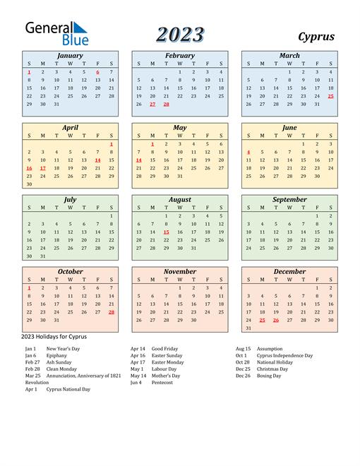 Cyprus Calendar 2023