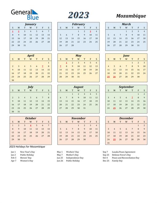Mozambique Calendar 2023