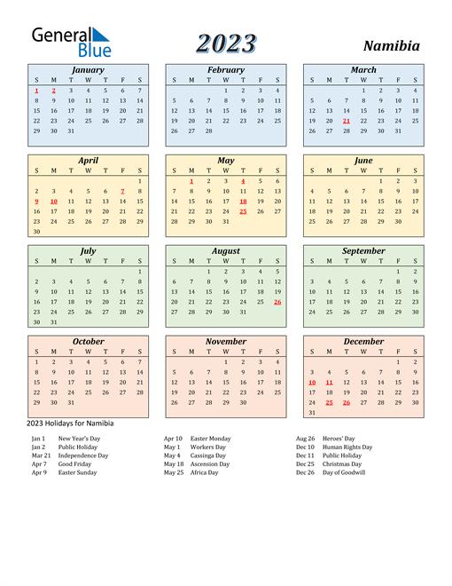 Namibia Calendar 2023