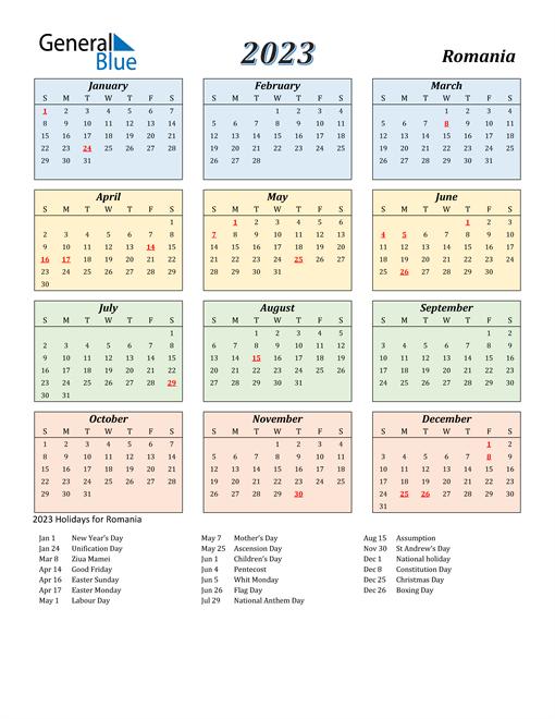 Romania Calendar 2023