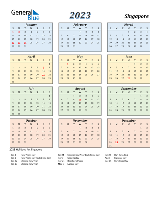 Singapore Calendar 2023