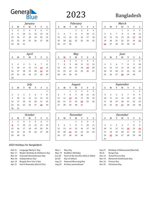2023 Bangladesh Holiday Calendar
