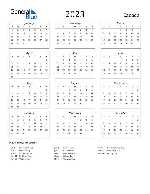 2023 Canada Holiday Calendar