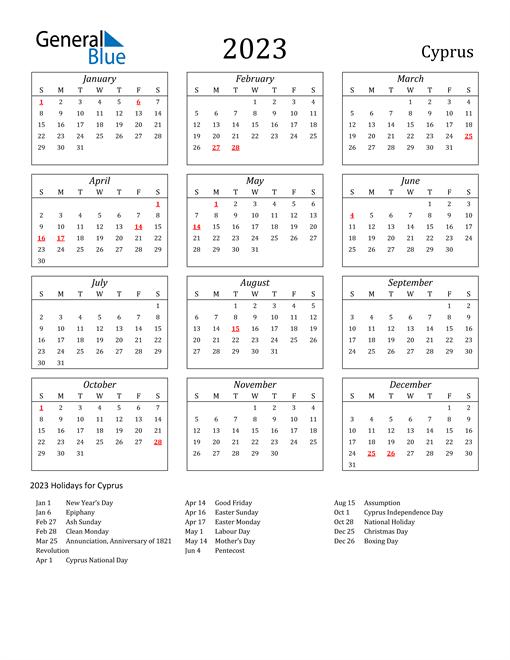 2023 Cyprus Holiday Calendar
