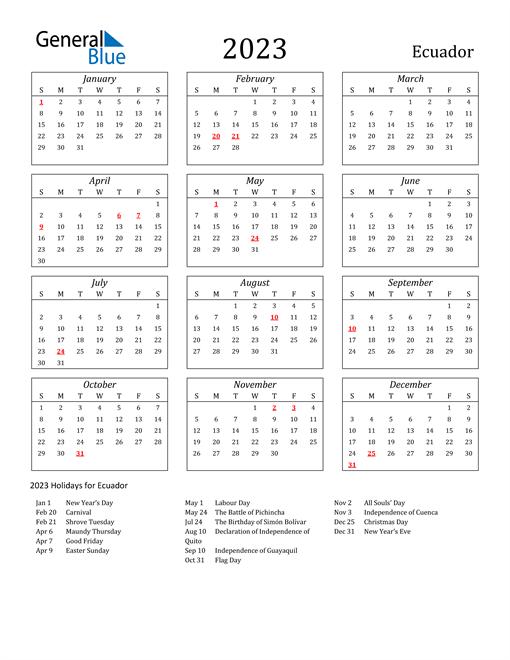 2023 Ecuador Holiday Calendar